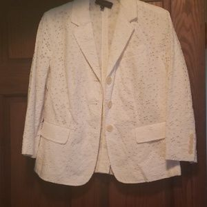 Talbots size 8 white lace material blazer